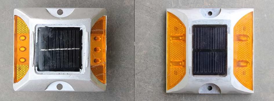 TIPE TAMPAK FOTO (Klik untuk zoom) ATAS SAMPING BAWAH Type 4 Lampu Size (L)x(W)x(H) mm : 104 x 104 x 20 mm Lighting source : LED 4pcs Shell materials : High-pressure casting aluminum Reflect slice materials : Polymethylmethacrylate Solar cell